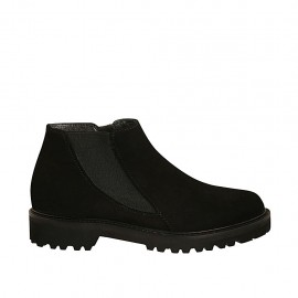 Woman's ankle boot with zipper and elastic band in black suede heel 3 - Available sizes:  33, 34, 42, 43, 44, 45