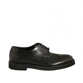 Chaussure derby élégant à lacets pour hommes en cuir noir avec bout Brogue  - Pointures disponibles:  36, 37, 47, 48, 49