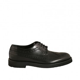 Elegant men's laced derby shoe in black leather with Brogue decorations  - Available sizes:  37, 48, 49