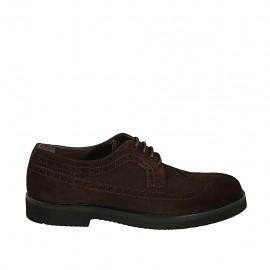 Chaussure derby à lacets en daim marron pour hommes avec bout Brogue  - Pointures disponibles:  38, 46, 48