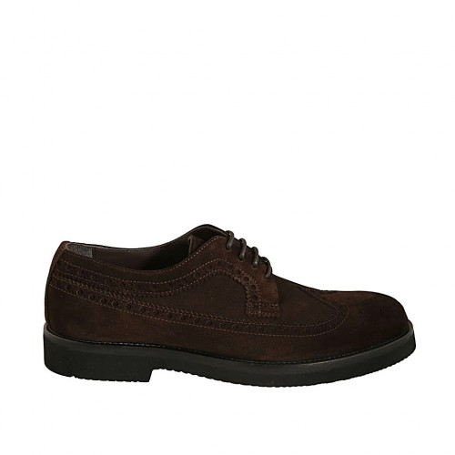 Men's derby laced shoe in brown suede with Brogue decorations  - Available sizes:  38, 46, 48