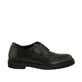 Chaussure derby à lacets pour hommes en cuir noir - Pointures disponibles:  36, 37, 38, 47, 48, 49