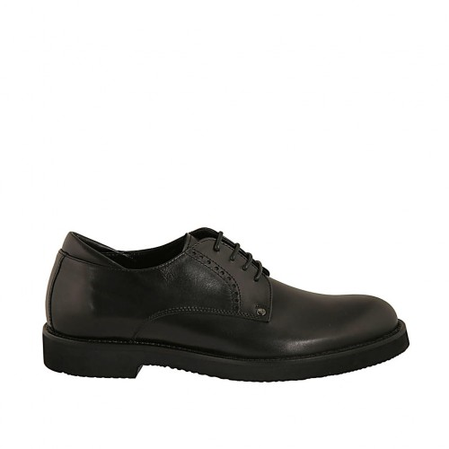 Men's derby shoe with laces in black leather - Available sizes:  36, 37, 38, 47, 48, 49