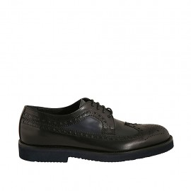 Elegant men's laced derby shoe in black and blue leather with Brogue decorations - Available sizes:  36, 37, 38, 46, 47, 48, 49