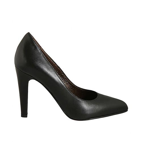 Zapato de salon a punta para mujer en piel negra con tacon 9 - Tallas disponibles:  43