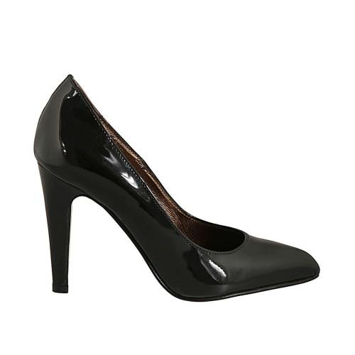 Zapato de salon para mujer a punta en charol negro con tacon 9 - Tallas disponibles:  33, 43, 44