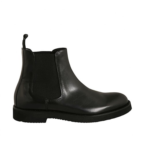 Men's ankle boot with elastic bands in black leather  - Available sizes:  37