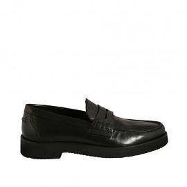 Herrenmokassin aus schwarzem Leder - Verfügbare Größen:  37, 38, 47, 48