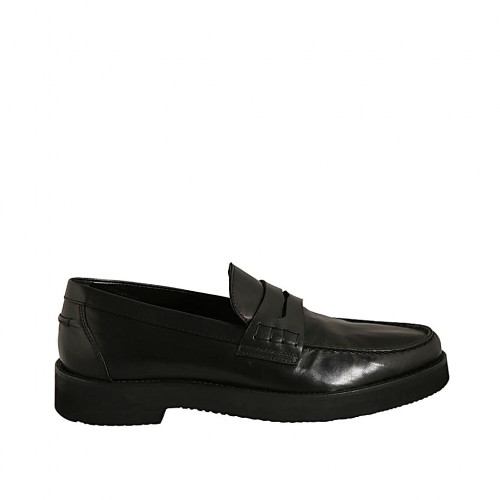 Men's loafer in black leather - Available sizes:  37, 38, 47, 48