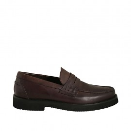Men's mocassin in brown leather - Available sizes:  37, 38, 46, 47, 48, 49
