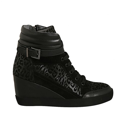 Woman's laced shoe with zipper and buckle in black leather, suede and printed suede wedge heel 6 - Available sizes:  43, 44