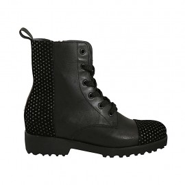 Woman's laced ankle boot with zipper and studs in black suede and leather heel 3 - Available sizes:  33, 34, 42, 45, 46
