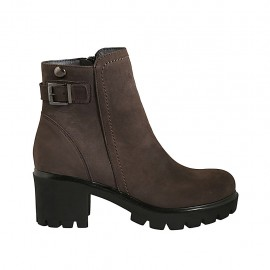 Woman's ankle boot with zipper and buckle in taupe nubuck leather heel 5 - Available sizes:  34, 42, 43, 44