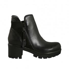 Bottines pour femmes avec fermetures éclair et elastique en cuir et daim noir talon 5 - Pointures disponibles:  33, 34, 42, 43, 44, 45