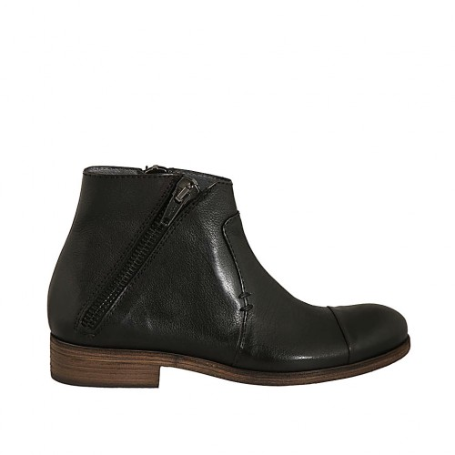 Men's ankle boot with double zipper in black leather - Available sizes:  47, 48, 50