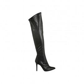 Schenkelhoher Damenstiefel aus schwarzem Leder und elastischem Material Absatz 9 - Verfügbare Größen:  31