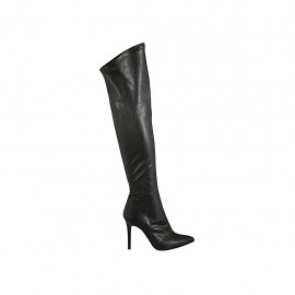 Woman's over-the-knee boot in black leather and elastic material heel 9 - Available sizes:  31, 42