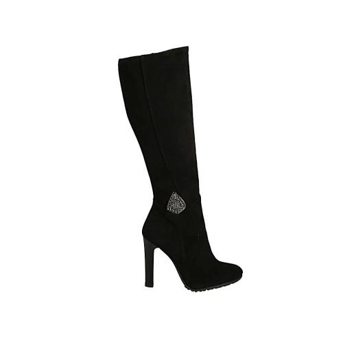 Bottes pour femmes en daim noir avec fermeture éclair, accessoire et talon 10 - Pointures disponibles:  32, 34, 42, 44