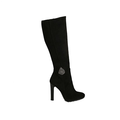 Woman's boot in black suede with zipper and accessory and heel 10 - Available sizes:  32, 34, 42
