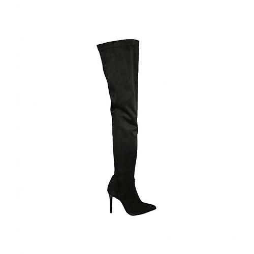 Botas sobre la rodilla para mujer en gamuza y material elastico negro con media cremallera interna tacon 9 - Tallas disponibles:  33, 34, 42, 46