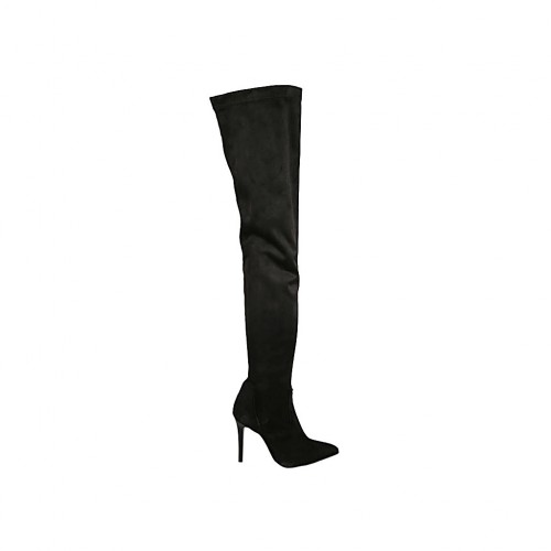 Woman's over-the-knee boot in black suede and elastic material with half inner zipper heel 9 - Available sizes:  33, 42