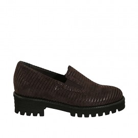 Chaussure fermée pour femmes avec elastiques et semelle amovible en daim marron et cuir verni noir talon 4 - Pointures disponibles:  32, 33, 34, 42, 43, 44