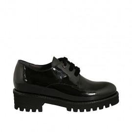 Woman's derby shoe with laces and removable insole in black patent leather heel 4 - Available sizes:  32, 33