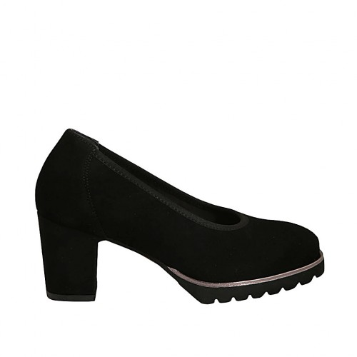Woman's pump in black suede with removable insole and heel 7 - Available sizes:  34