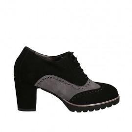 Scarpa stringata da donna modello Oxford con plantare estraibile in camoscio nero e grigio tacco 7 - Misure disponibili: 32, 33, 42, 43, 44, 45