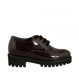Woman's derby shoe with laces and removable insole in maroon patent leather heel 4 - Available sizes:  32, 42, 43, 45