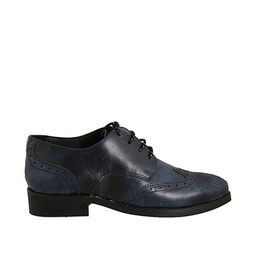 Woman's laced pointy derby shoe in blue leather with Brogue decorations heel 3 - Available sizes:  33, 34, 42, 43, 44, 45