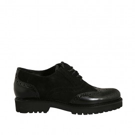 Woman's laced Oxford shoe in black suede and brush-off leather heel 3 - Available sizes:  33, 42, 43, 44, 45