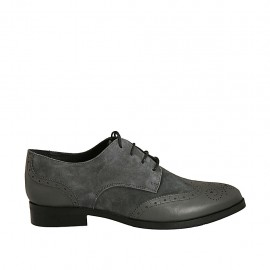 Woman's laced pointy derby shoe in grey suede and leather with Brogue decorations heel 3 - Available sizes:  33, 34, 43, 45