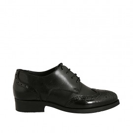 Woman's laced pointy derby shoe in black leather and patent leather with Brogue decorations heel 3 - Available sizes:  44, 45