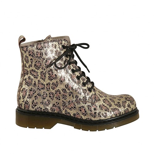 Woman's laced ankle boot with zipper in golden printed suede heel 3 - Available sizes:  32, 33, 34