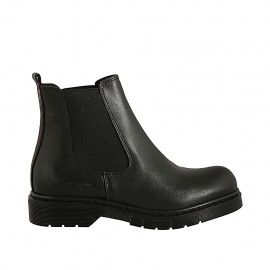 Woman's ankle boot in black smooth leather with elastic bands heel 3 - Available sizes:  33, 44, 45
