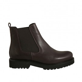 Woman's ankle boot with elastic bands in dark brown leather heel 3 - Available sizes:  43, 44, 45