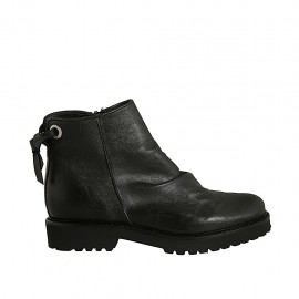 Woman's ankle boot with zipper and backside laces in black leather heel 3 - Available sizes:  32, 33, 44
