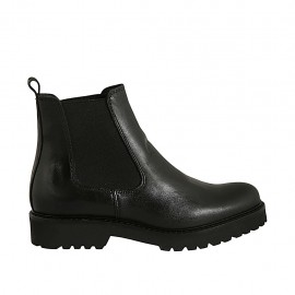 Bottines pour femmes en cuir noir avec élastiques talon 3 - Pointures disponibles:  32, 33, 34, 42, 43, 44, 45
