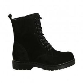 Woman's laced ankle boot with zipper in black suede heel 3 - Available sizes:  32, 44