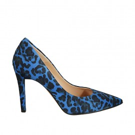 Women's pointy pump shoe in spotted blue suede heel 9 - Available sizes:  33, 34, 42, 43, 44