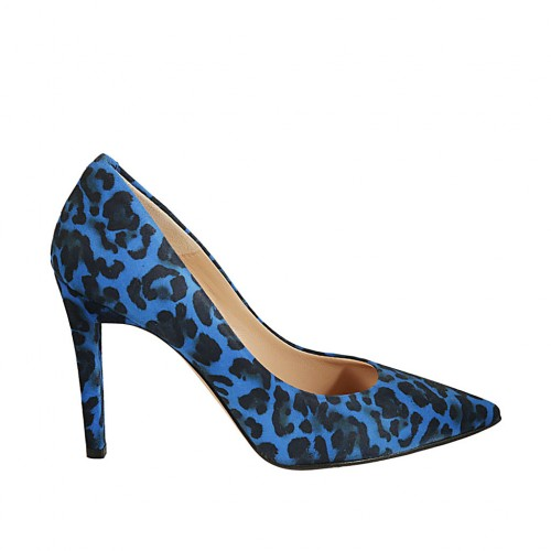 Women's pointy pump shoe in spotted cornflower blue suede heel 9 - Available sizes:  33, 34