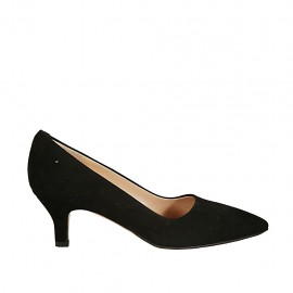 Woman's pump in black suede heel 5 - Available sizes:  32, 33, 34, 42, 43, 44, 45