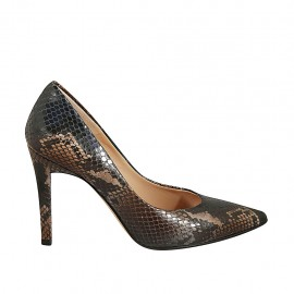Woman's pointy pump in blue and taupe printed leather heel 9 - Available sizes:  46