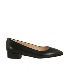 Zapato de salon puntiagudo para mujer en piel negra tacon 2 - Tallas disponibles:  32, 33, 34, 43, 44
