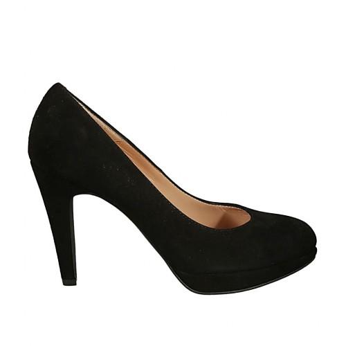 Zapato de salon para mujer en gamuza negra con plataforma y tacon 9 - Tallas disponibles:  31, 32