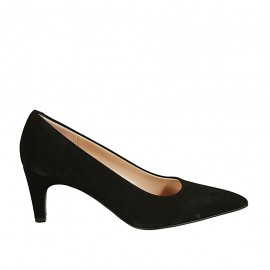 Woman's pointy pump in black suede heel 6 - Available sizes:  34