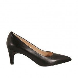 Women's pointy pump in black leather heel 6 - Available sizes:  32, 33, 34, 43, 44, 45, 46