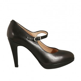 Woman's strap pump with platform in black leather heel 9 - Available sizes:  43