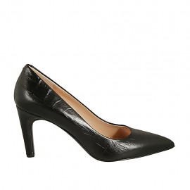 Women's pointy pump in black printed leather heel 7 - Available sizes:  46